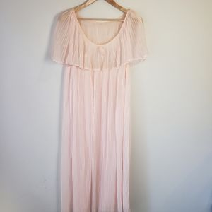 Vintage MCM Pink Pleated Nightgown Lingerie 60s